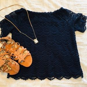 Talbots | off the shoulder navy lace • Sp